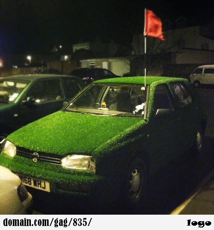 My mate astro-turfed his VW Golf and uses a golf flag as the antenna.